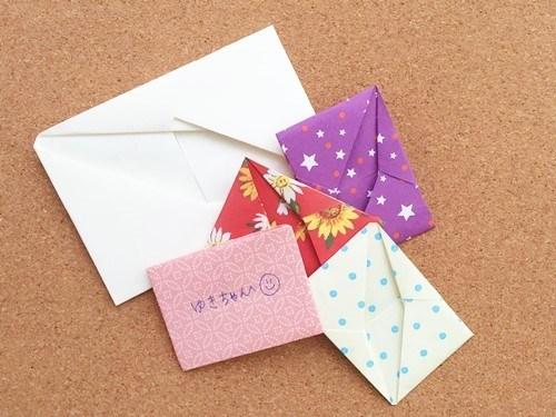 いろいろな紙でシンプルな手紙の折り方をやってみた