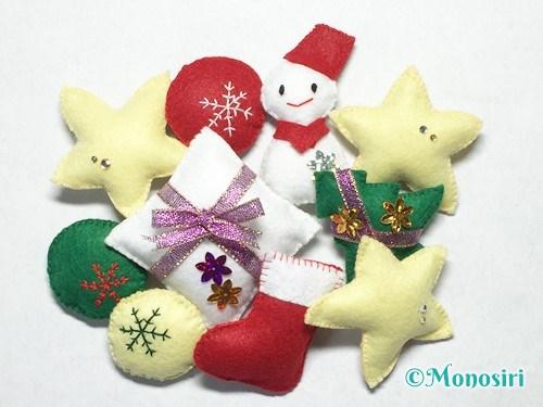 フェルトで作ったクリスマス飾り
