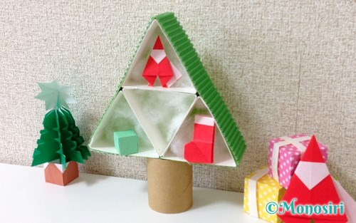 牛乳パックで作ったクリスマスツリー