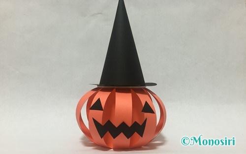 ハロウィンのかぼちゃのお菓子入れ(帽子付き)