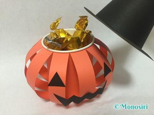 かぼちゃのお菓子入れ(帽子付き)の作り方28