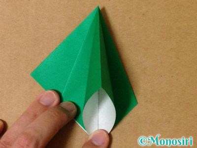 折り紙で立体的なクリスマスツリーの折り方14