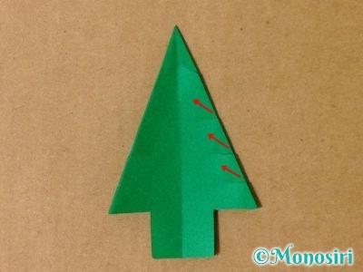 折り紙で立体的なクリスマスツリーの折り方26