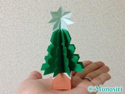 折り紙で立体的なクリスマスツリーの折り方45