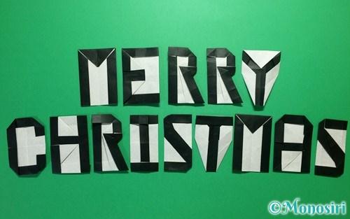 折り紙で折ったMERRY CHRISTMAS