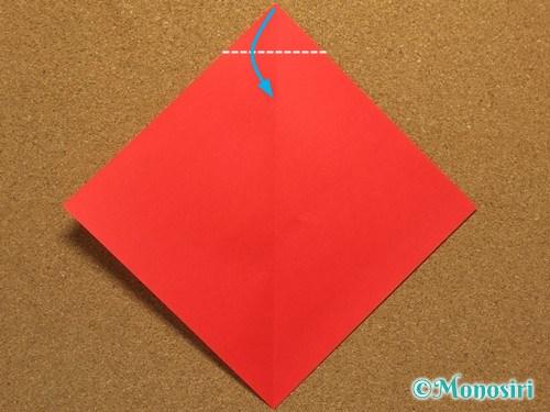 折り紙でサンタ帽子の折り方2