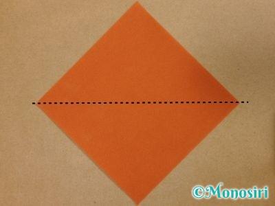 折り紙でトナカイの顔の折り方1