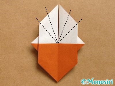 折り紙でトナカイの顔の折り方17