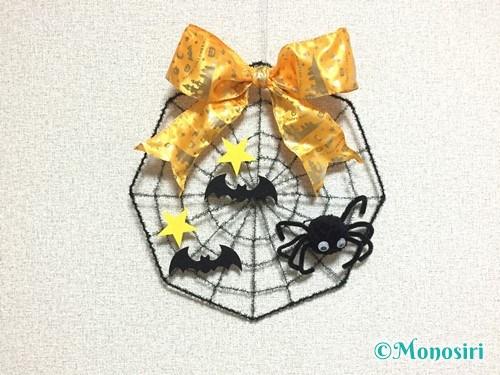 100均材料でクモの巣リースの作り方6