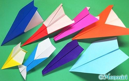 折り紙で作った色々な紙飛行機