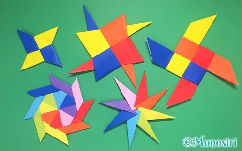 折り紙で作った色々な手裏剣