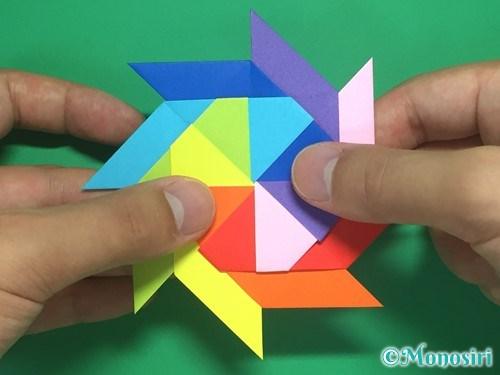 8枚の折り紙で手裏剣の作り方24