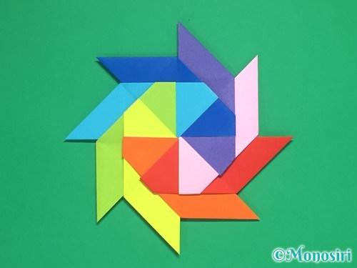 8枚の折り紙で手裏剣の作り方25