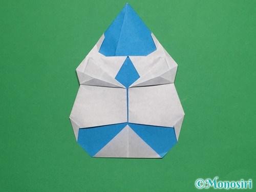 折り紙で帽子付き雪だるまの折り方25