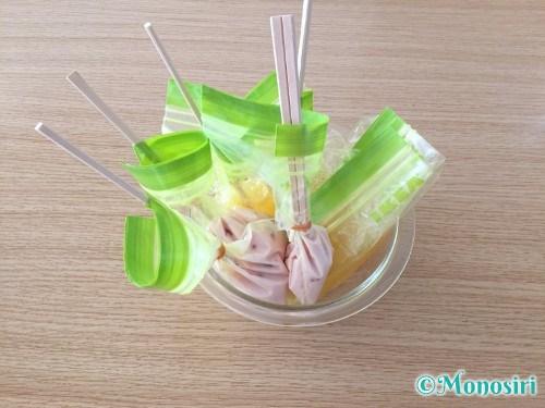 冷凍庫を使わずに作るアイスキャンディ作成手順5