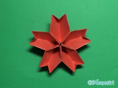 折り紙で立体的な桜(器)の作り方手順39