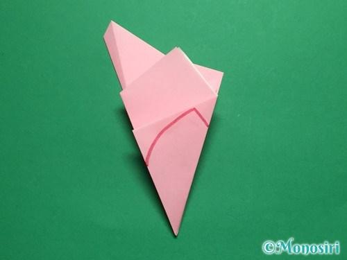 折り紙で立体的な桜の花びらの作り方手順13