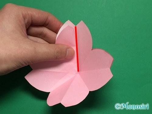 折り紙で立体的な桜の花びらの作り方手順19