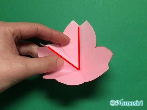 折り紙で立体的な桜の花びらの作り方手順21