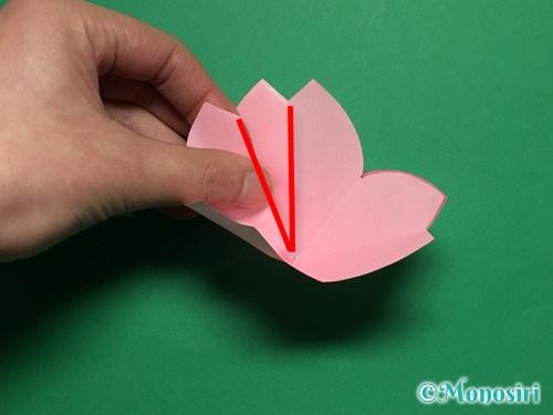 折り紙で立体的な桜の花びらの作り方手順22