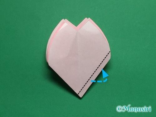 折り紙で立体的な桜の花びらの作り方手順28
