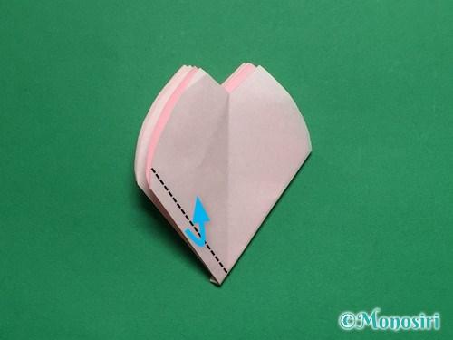 折り紙で立体的な桜の花びらの作り方手順30