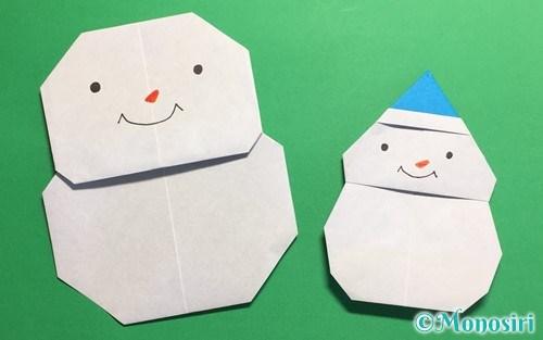 折り紙で作った2種類の雪だるま