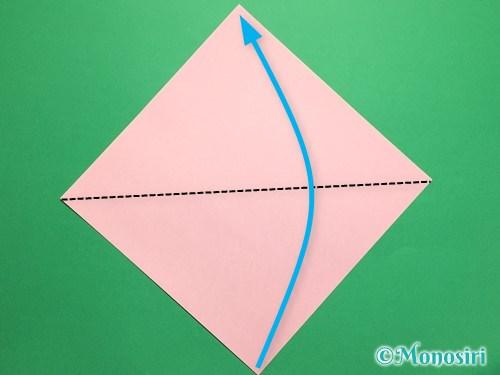 折り紙で桃の花の折り方手順1