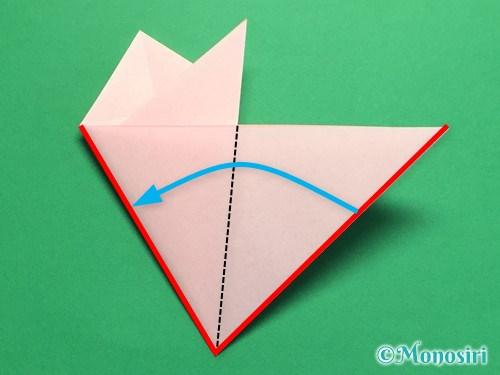 折り紙で桃の花の折り方手順15