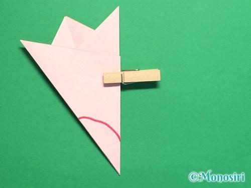 折り紙で桃の花の折り方手順17