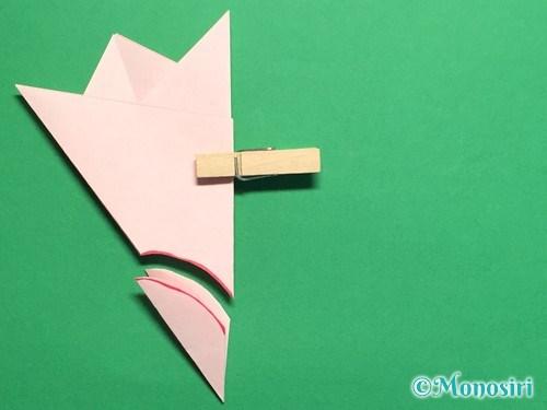 折り紙で桃の花の折り方手順18