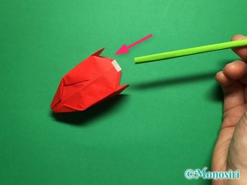 折り紙で立体的なチューリップの折り方手順56