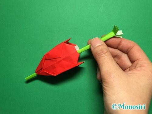 折り紙で立体的なチューリップの折り方手順57