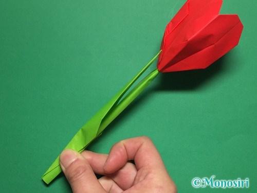 折り紙で立体的なチューリップの折り方手順62