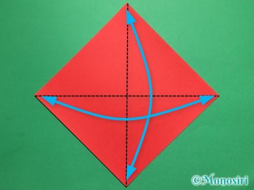 折り紙でテントウ虫の折り方手順1