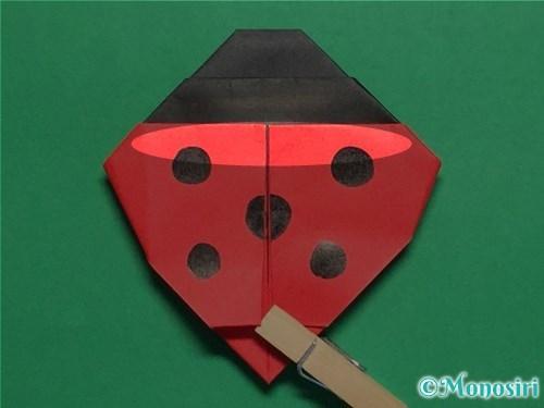 折り紙で立体的なてんとう虫の折り方手順33