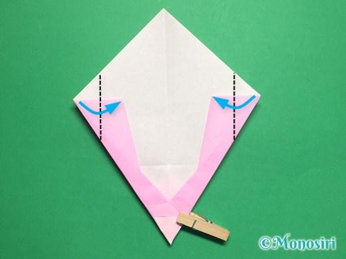 折り紙で桃の花びらの折り方手順17