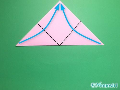 折り紙で立体的な桃の花の作り方手順3