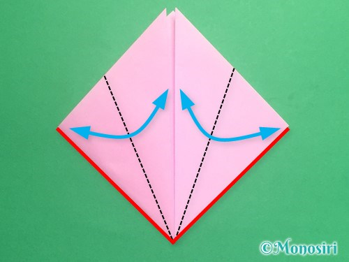 折り紙で立体的な桃の花の作り方手順5