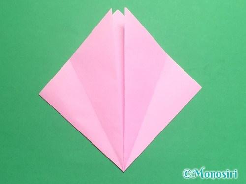 折り紙で立体的な桃の花の作り方手順6