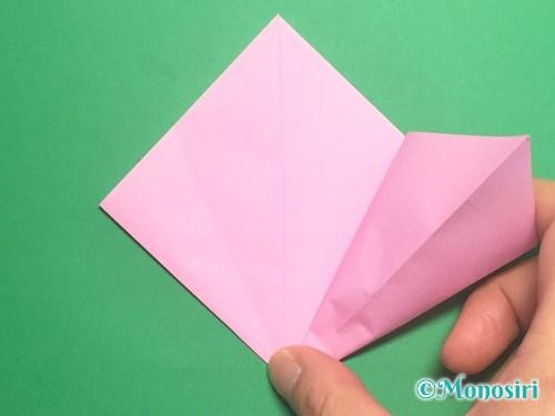 折り紙で立体的な桃の花の作り方手順8