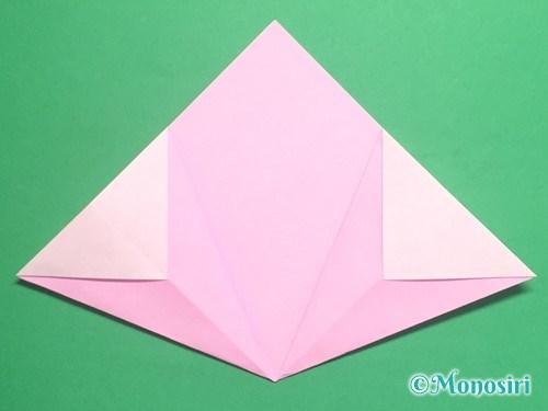 折り紙で立体的な桃の花の作り方手順12