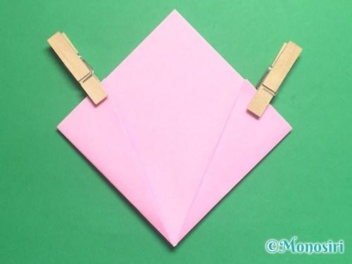 折り紙で立体的な桃の花の作り方手順14