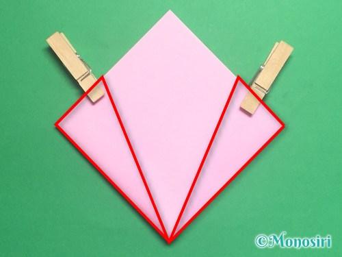 折り紙で立体的な桃の花の作り方手順15
