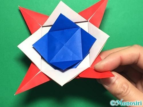折り紙で回せるコマの作り方手順55