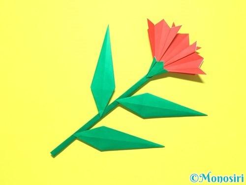 折り紙で平面カーネーションの作り方手順46