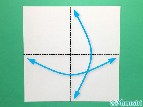 折り紙で風車の折り方手順1