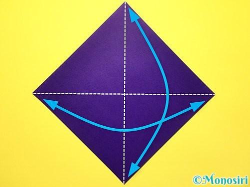 折り紙で立体的な菖蒲の折り方手順1