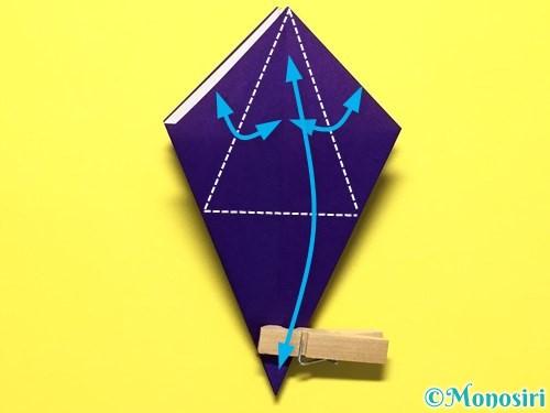 折り紙で立体的な百合の花の折り方手順21