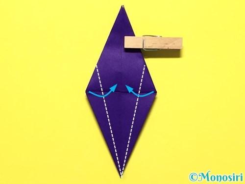 折り紙で立体的な百合の花の折り方手順30